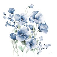Secret Garden Bouquet II Blue Fine Art Print