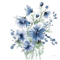 Secret Garden Bouquet I Blue Fine Art Print