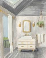 Attic Bathroom I Gray Framed Print