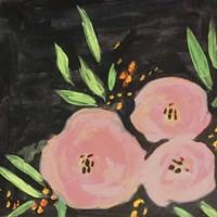 Black and Light Pink Floral Fine Art Print