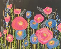 Pink and Blue Flowers Fine Art Print