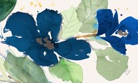 Blue Watercolor Flowers I Framed Print