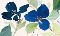 Blue Watercolor Flowers II Framed Print