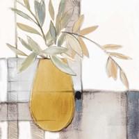 Golden Afternoon Bamboo Leaves I Framed Print