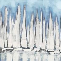 White Sailboat Crowd I Framed Print