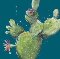 Natural Desert Cactus On Blue I Framed Print