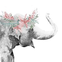 Water Elephant with Flower Crown Square Framed Print