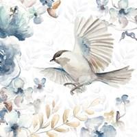 Floral With Bird I Framed Print