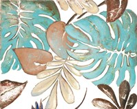Teal and Tan Palms I Framed Print