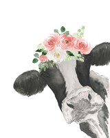 Hello Cow With Flower Crown Fine Art Print