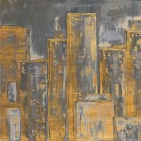 Gold City Eclipse Square I Framed Print