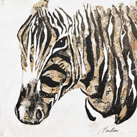 Speckled Gold Zebra Framed Print