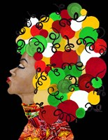 African Goddess With Colorful Hair Fine Art Print