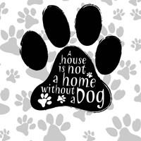 B&W Dog Paw I Framed Print