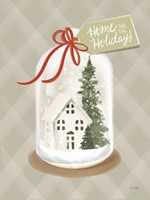 Home for the Holidays Snow Globe Framed Print
