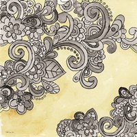 Yellow--Gray Pattern 2 Framed Print