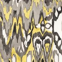 Yellow-Gray Ikat 1 Framed Print