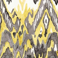 Yellow-Gray Ikat 2 Framed Print
