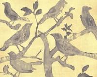 Yellow-Gray Birds 2 Framed Print