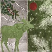 Red Forest Moon Moose Framed Print