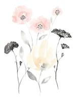 Blush & Black Wildflowers I Framed Print