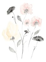 Blush & Black Wildflowers II Framed Print