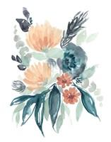 Teal & Peach Bouquet I Framed Print
