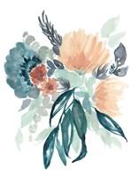 Teal & Peach Bouquet II Framed Print