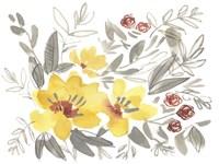 Golden Flower Composition I Framed Print