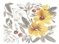 Golden Flower Composition II Framed Print