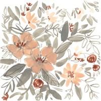 Peach & Rust Blooms I Framed Print