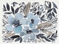Blue & Paynes Blooms II Framed Print