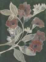 Blooms on Hunter Green I Framed Print
