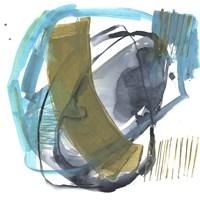 Olive & Blue Gesture I Framed Print