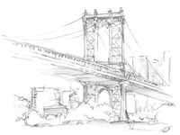 Pencil Cityscape Study II Framed Print