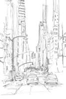 Pencil Cityscape Study IV Framed Print