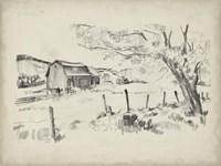 Sketched Barn View II Framed Print