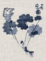 Navy & Linen Leaves IV Framed Print