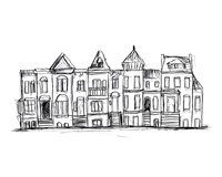 Rowhouses II Framed Print
