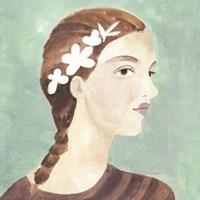 Folk Art Portrait I Framed Print