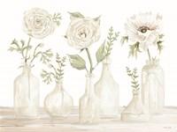 Bottles and Flowers II Framed Print