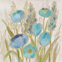 Opalescent Floral II Blue Framed Print