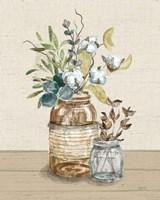 Cotton Bouquet III Cream Framed Print
