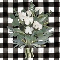 Buffalo Check Cut Paper Bouquet I Fine Art Print