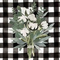 Buffalo Check Cut Paper Bouquet II Fine Art Print