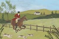 Folk Art Fox Hunt III Framed Print