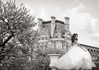 Young Woman at the Chateau de Chambord (BW) Fine Art Print