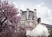 Young Woman at the Chateau de Chambord Fine Art Print