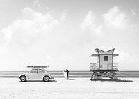 Waiting for the Waves, Miami Beach (BW) Fine Art Print
