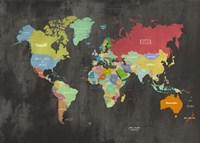 Modern Map of the World (Chalkboard) Framed Print